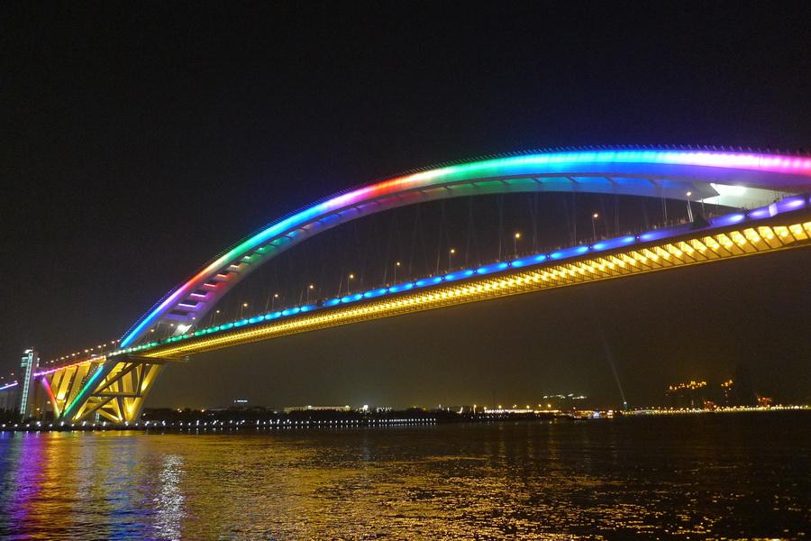 """上述""""世界桥梁之最""""中的上海卢浦大桥建于什么时候?"""
